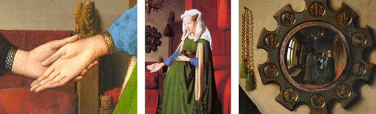 Painting Arnolfini Portrait by Jan van Eyck Details Hands Cloth Mirror