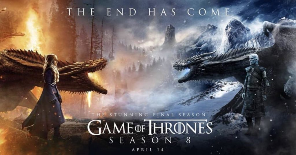 "Game of thrones season 8 poster with dragons and tag line ""The end has come"""
