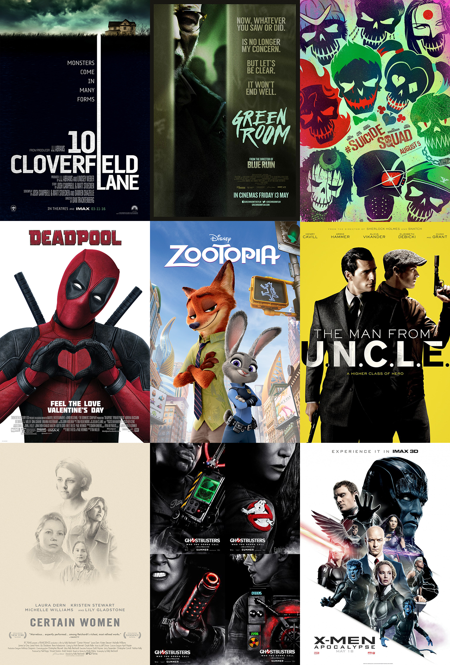 9 posters Deadpool Green room Suicide Squad 10 Cloverfield Lane Zootopia Man From UNCLE Certain Women Ghostbuster 2016 XMen Apocalypse