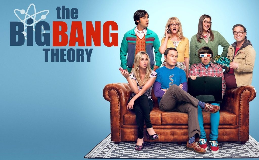 The Big Bang Theory TV show Banner with all the main characters on a couch
